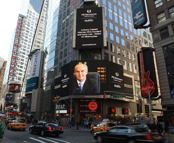 Dayton Accident Attorney Castelli appears on Times Square